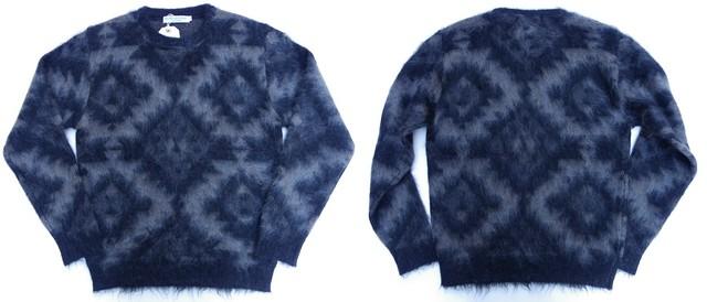 ISLAND KNIT WORKS-アイランドニットワークス- 起毛モヘアを使用したジャガードクルーネックセーター 2色 日本製