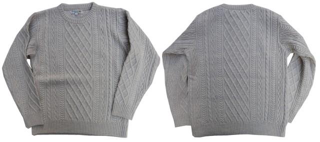 ISLAND KNIT WORKS-アイランドニットワークス- メリノウールで編み立てた5ゲージ縄柄クルーネックセーター 2色 日本製