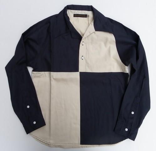 FULLCOUNT-フルカウント- 目を引く切り替え!チェッカーフラッグプルオーバーシャツ 日本製