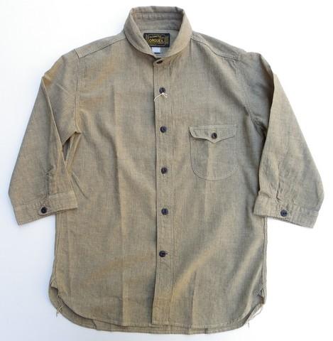 ORGUEIL-オルゲイユ- 雰囲気バツグン!細かなストライプのショールカラー7分袖シャツ ベージュ 日本製