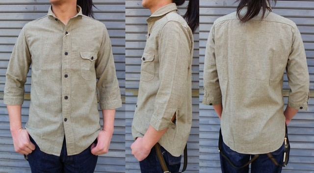 ORGUEIL-オルゲイユ- 雰囲気バツグン!綿麻素材の細かなストライプのショールカラー7分袖シャツ ベージュ 日本製