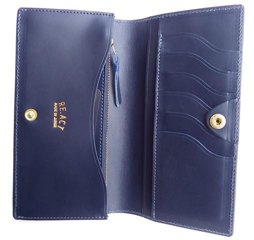 RE.ACT -リアクト- 国内でなめしたタンロー革を藍染めしペイズリー型押ししたスップボタン付きロングウォレット 日本製