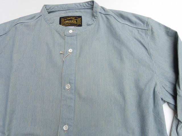 ORGUEIL-オルゲイユ- クラシカルなバンドカラー!インディゴストライプワークシャツ 日本製