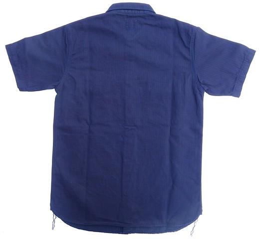 桃太郎ジーンズ インディゴへリンボーン半袖シャツ 日本製