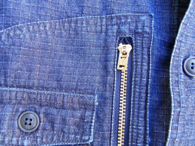 桃太郎ジーンズ 先染めインディゴ糸で織り上げたインディゴリップストップシャツ  日本製