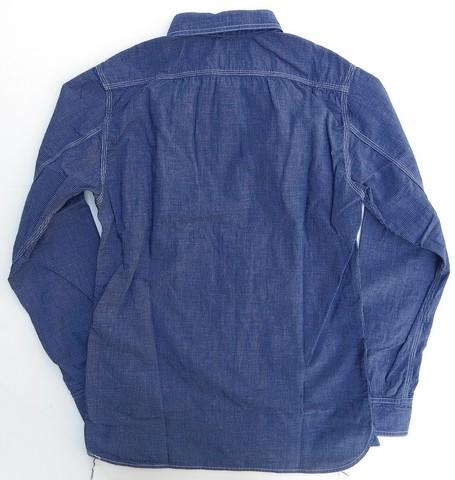 桃太郎ジーンズ 先染めインディゴ糸で織り上げた5ozプレイドシャンブレーシャツ  日本製