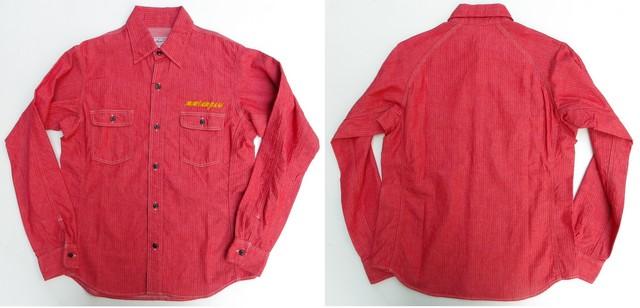 桃太郎ジーンズ 左胸ワンポイント刺繍!ヘリンボーンを使用した立体裁断ラグランスリーブワークシャツ 2色  日本製