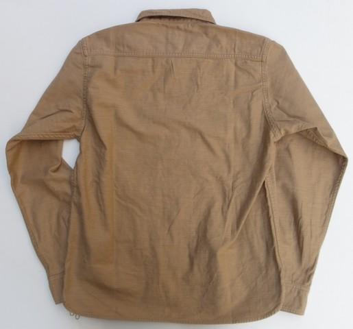 桃太郎ジーンズ 硫化バックサテンを使用したサイドポケットミリタリーシャツ  ベージュ 日本製