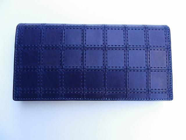 RE.ACT -リアクト- 国内でなめしたタンロー革を藍染めしパッチワーク柄を型押ししたスナップボタン付きロングウォレット 日本製