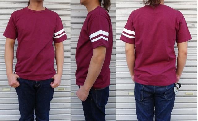 桃太郎ジーンズ MT302 度詰め8.2oz ジンバブエコットンTシャツ 無地2本ライン入り バーガンディ 日本製