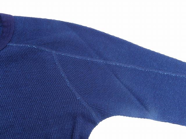 pure blue japan -ピュアブルージャパン- 先染めインディゴ糸で編み立てたサーマル地!クルーネックロングTシャツ 日本製