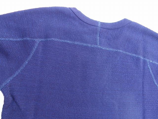 pure blue japan -ピュアブルージャパン- 先染めインディゴ糸で編み立てたサーマル地!クルーネック半袖Tシャツ 日本製