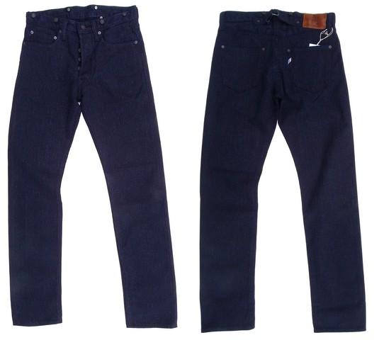 pure blue japan-ピュアブルージャパン-  先染めインディゴセルヴィッチ刺し子!サスペンダーボタン付き5ポケットパンツ 日本製