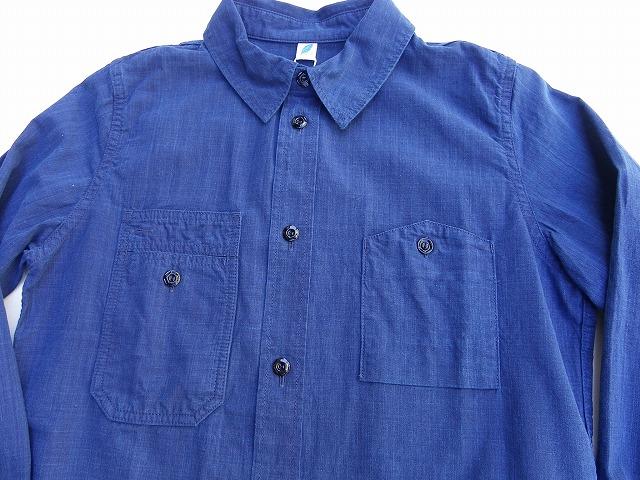 pure blue japan -ピュアブルージャパン- タテヨコ共に本藍染め!!チンストラップ付きワークシャツ 日本製