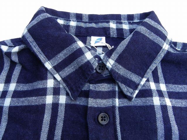 pure blue japan -ピュアブルージャパン- インディゴ糸で織り上げたライトなフランネルチェックシャツ 日本製