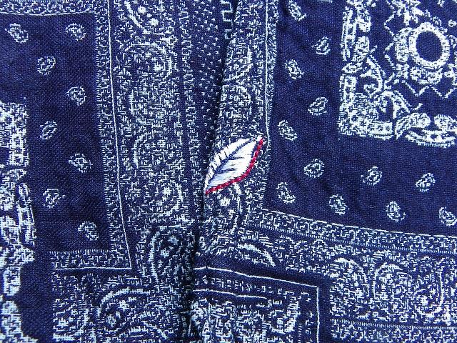 pure blue japan -ピュアブルージャパン- バンダナ柄ジャガードシャツ インディゴ 日本製