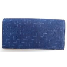 RE.ACT -リアクト- 藍染めし刺し子風プリント!スナップボタン付きロングウォレット 日本製