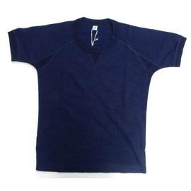 pure blue japan -ピュアブルージャパン- インディゴ先染めスーピマコットン糸で編み立てたクルーネック半袖Tシャツ 日本製