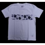 RIDING HIGH -ライディングハイ- 昔ながらの電着フロッキープリントで胸に花の柄を表現した 半袖Tシャツ ホワイト 日本製