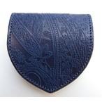 RE.ACT -リアクト- 国内でなめしたタンロー革を藍染めしペイズリー型押ししたコインケース 日本製