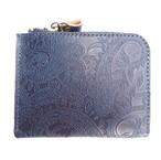 RE.ACT -リアクト- 国内でなめしたタンロー革を藍染めしペイズリー型押ししたL字型ミニウォレット 日本製