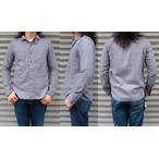 桃太郎ジーンズ ウール混のコットンツイルを使用したジェイルポケットシャツ  グレー 日本製