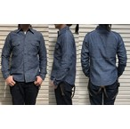 桃太郎ジーンズ 4.5オンスインディゴシャンブレーを使用した立体裁断ラグランスリーブワークシャツ  日本製