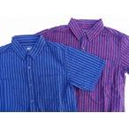 桃太郎ジーンズ ストライプシアサッカーのフェイクプルオーバー半袖シャツ 2色 日本製