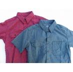 桃太郎ジーンズ 撚り杢セルヴィッチシャンブレー半袖ワークシャツ 2色 日本製