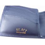 RE.ACT -リアクト- 国内でなめしたタンロー革を藍染めしペイズリー型押しした2つ折りショートウォレット 日本製