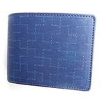RE.ACT -リアクト- 藍染め刺し子風プリント2つ折りショートウォレット 日本製
