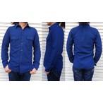桃太郎ジーンズ 先染めインディゴ糸で織り上げたインディゴドビーワークシャツ  日本製