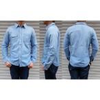 pure blue japan -ピュアブルージャパン- エイジング加工シャンブレーワークシャツ 日本製