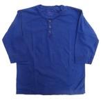 桃太郎ジーンズ インディゴ製品染め!ジンバブエコットン使用のしなやかな度詰め5分袖ヘンリーネックTシャツ 日本製