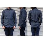 桃太郎ジーンズ 細かな畝が魅力的なコードレーンを使用したホリゾンタルカラーシャツ  グレー 日本製