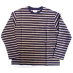SOUNDMAN -サウンドマン- フラップポケット付きボーダー天竺ロングTシャツ キャメル 日本製