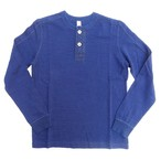 pure blue japan -ピュアブルージャパン- インディゴ先染めスーピマコットン糸で編み立てたヘンリーネックロングTシャツ 日本製