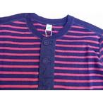 pure blue japan -ピュアブルージャパン- 麻混紡!インディゴボーダーヘンリーネックロングTシャツ 日本製