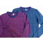 pure blue japan -ピュアブルージャパン- 麻混紡!インディゴボーダークルーネックロングTシャツ 日本製