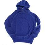 pure blue japan -ピュアブルージャパン- インディゴ糸でのジャガード編みでケーブル柄!プルオーバースエットパーカー 日本製