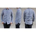pure blue japan -ピュアブルージャパン- 柔らかに織り上げたWガーゼ素材!インディゴブロックチェックシャツ 日本製